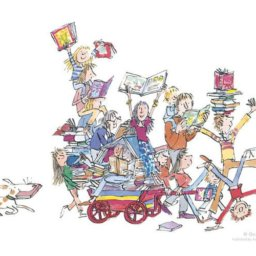 Ilustración de Quentin Blake para The book cart (The RoseGallery)