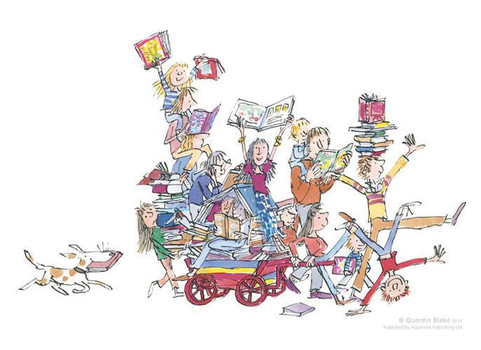 Ilustración de Quentin Blake para The book cart (The RoseGallery)